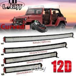 32 42 52inch Quad row Curved LED Light Bar Combo 12V 24V Off-Road Led Bar