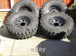4 X Extreme Off Road Tyres With Land Rover Steel Wheels 31-10-50-15
