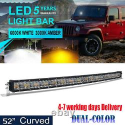 50Inch 3132W Led Work Light Bar Combo Offroad Boat Amber& White 2-Color Curved
