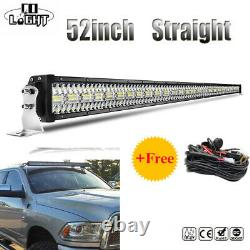 52inch Straight 3915W LED Work Light Bar Combo Offroad White + Wiring harness