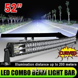 Curved 32 42 52'' LED Work Light Bar Spot Flood Roof Lights Driving Lamp OffRoad