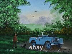 Mal Burton Original Oil Painting Off Out With The Dog In The Land Rover