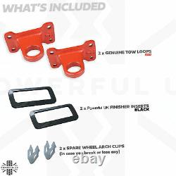 Red/orange Rear Tow Hook Loop kit for DEFENDER X recovery point offroad +inserts