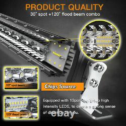 Tri-Row Curved LED Light Bar 52Inch 675W Flood Spot Combo Offroad Driving Wiring